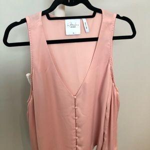 L'Academie Pink Cold Shoulder Blouse